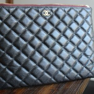 Authentic Chanel Black Caviar Quilted OCase Clutch
